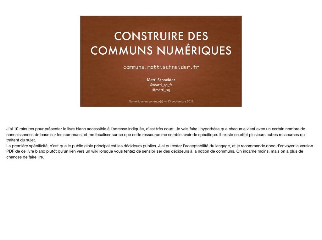 CONSTRUIRE DES COMMUNS NUMÉRIQUES Numérique en ...