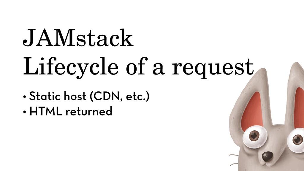 • Static host (CDN, etc.) • HTML returned JAMst...