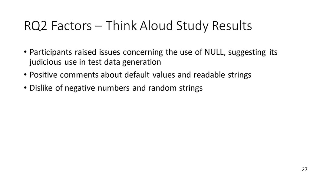 RQ2 Factors – Think Aloud Study Results • Parti...