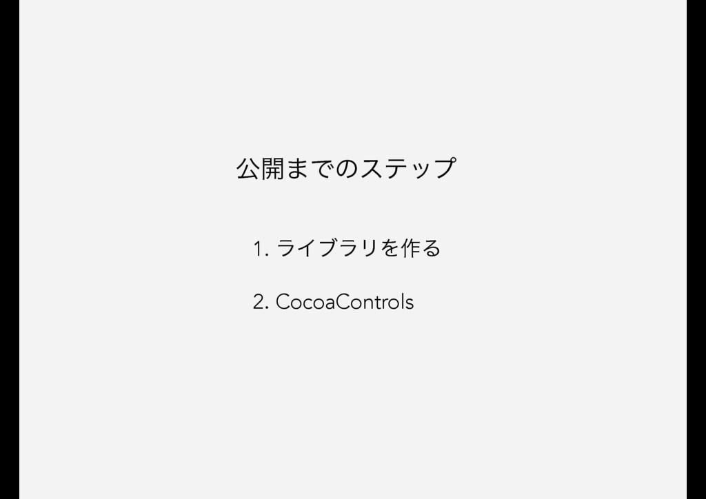 1. ϥΠϒϥϦΛ࡞Δ 2. CocoaControls ެ։·Ͱͷεςοϓ