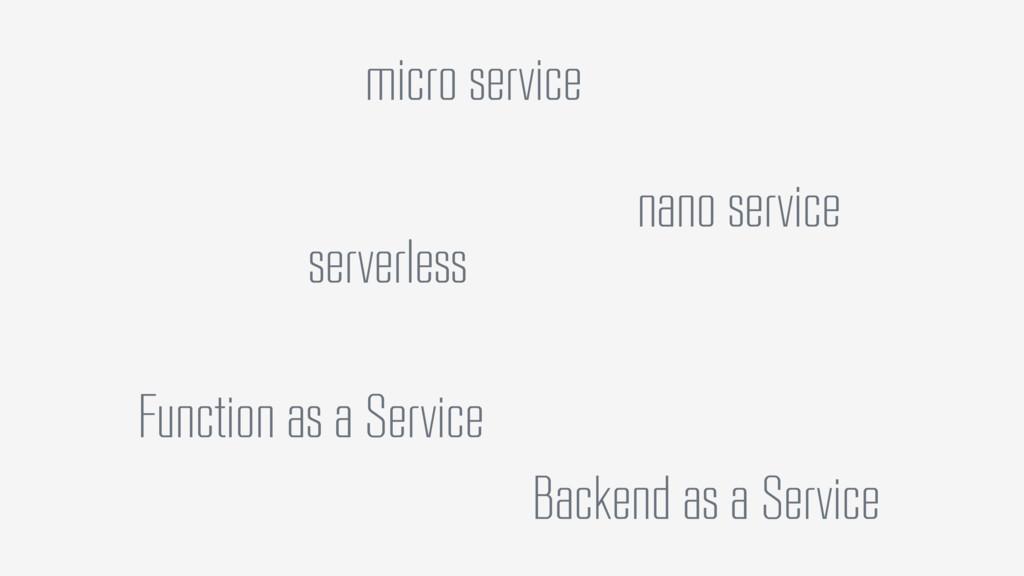 micro service nano service serverless Function ...