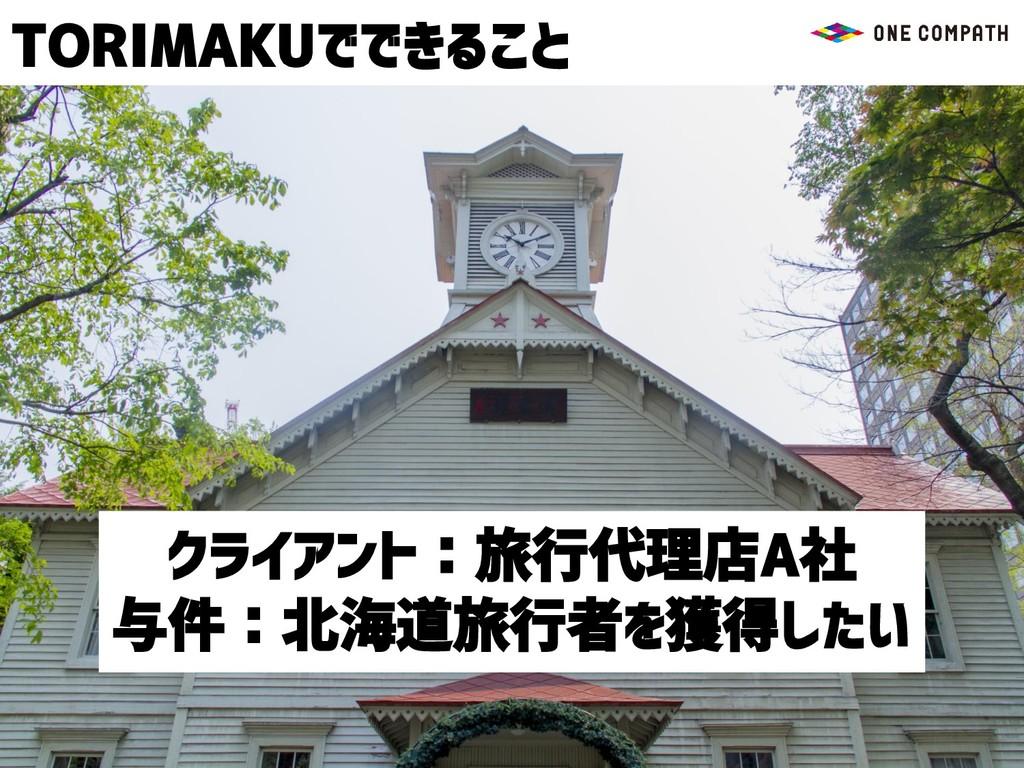 TORIMAKUでできること クライアント:旅行代理店A社 与件:北海道旅行者を獲得したい