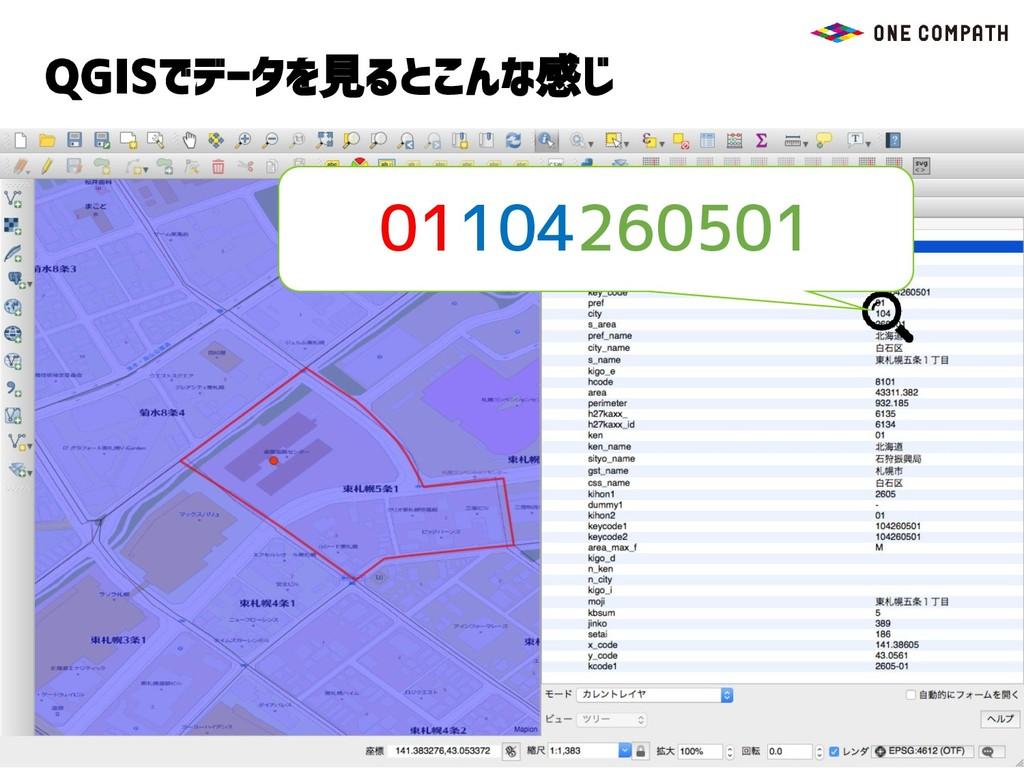 QGISでデータを見るとこんな感じ 01104260501