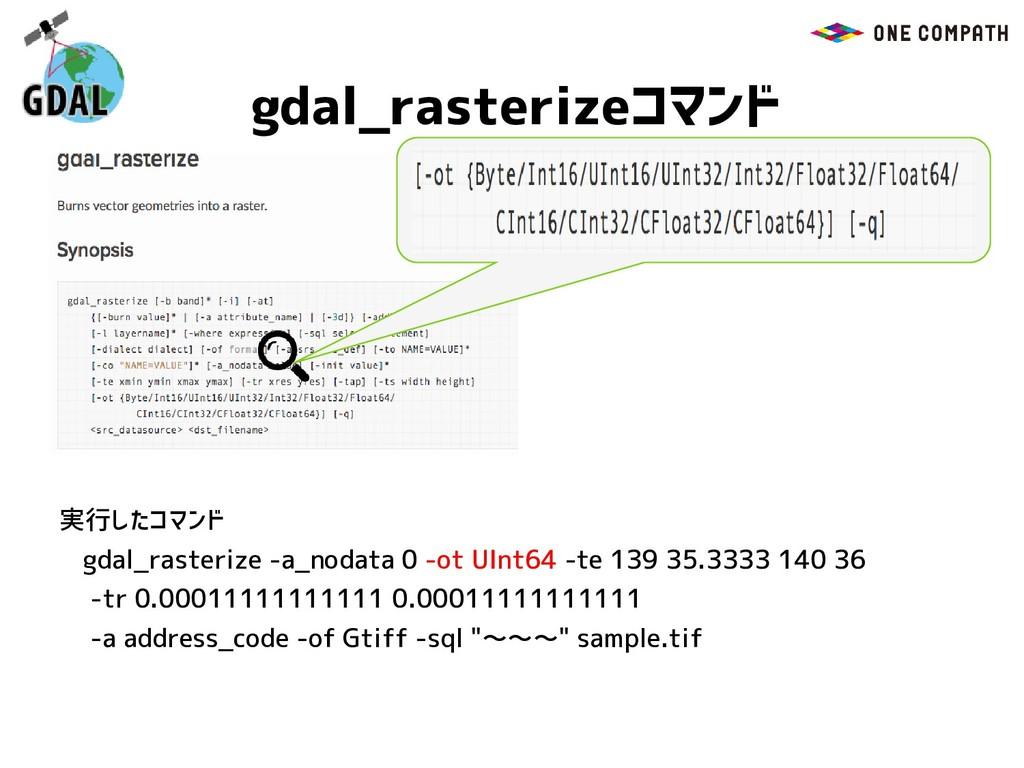gdal_rasterizeコマンド gdal_rasterize -a_nodata 0 -...
