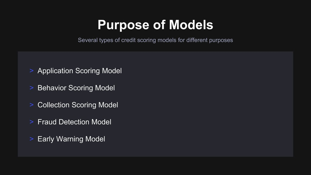 Several types of credit scoring models for diff...