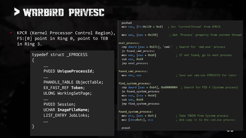 > • KPCR (Kernel Processor Control Region), FS:...