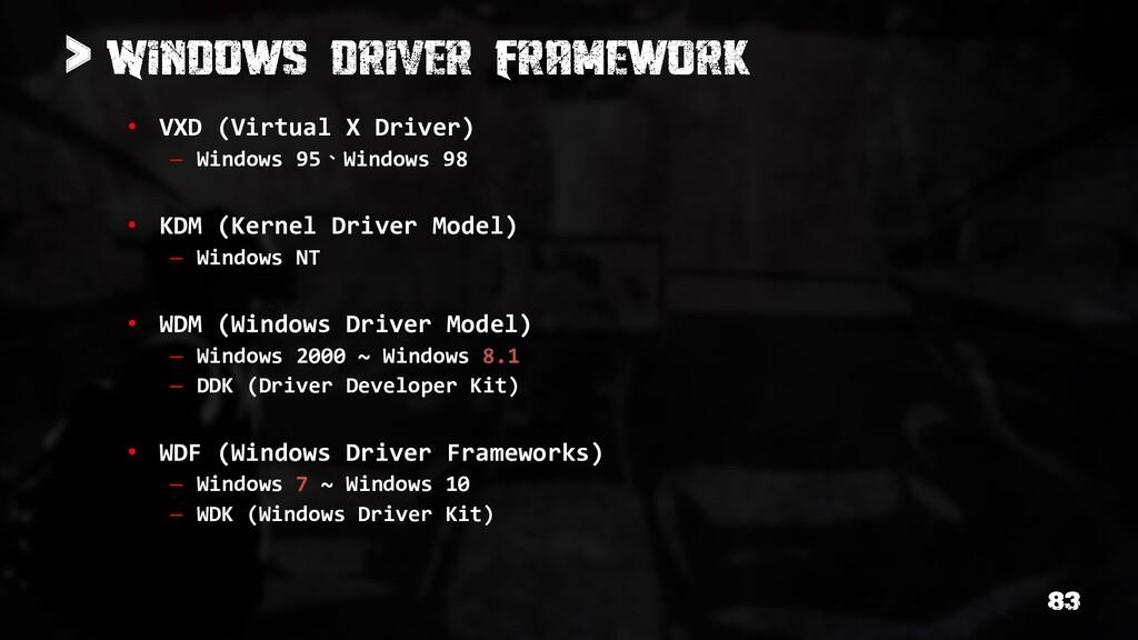 > • VXD (Virtual X Driver) – Windows 95、Windows...