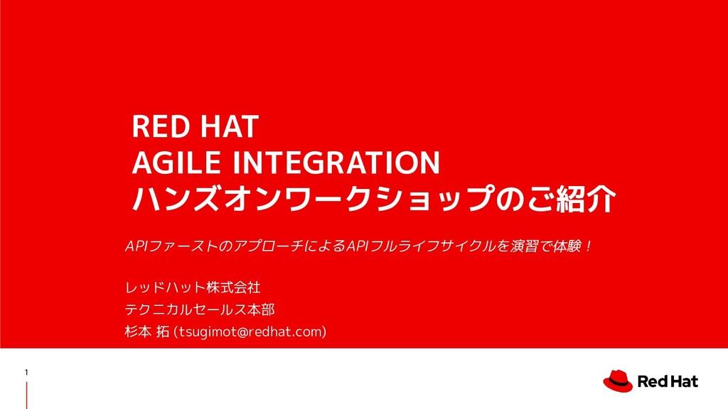 RED HAT AGILE INTEGRATION ハンズオンワークショップのご紹介 APIフ...