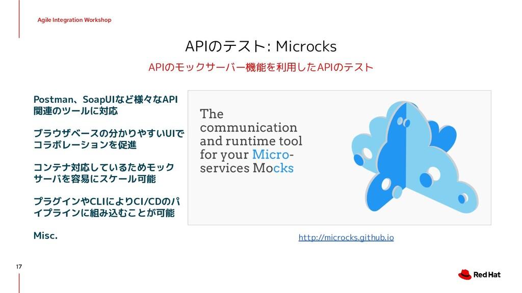 Agile Integration Workshop APIのテスト: Microcks AP...