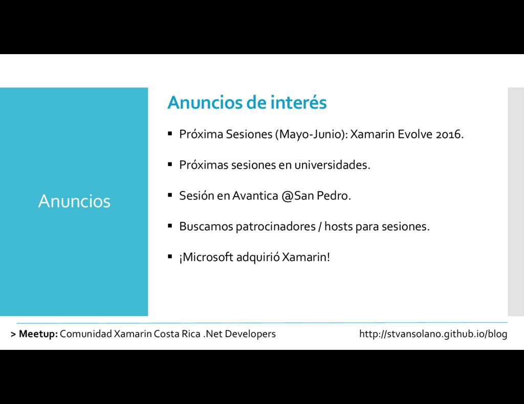 Anuncios > Meetup:Comunidad XamarinCosta Rica ....