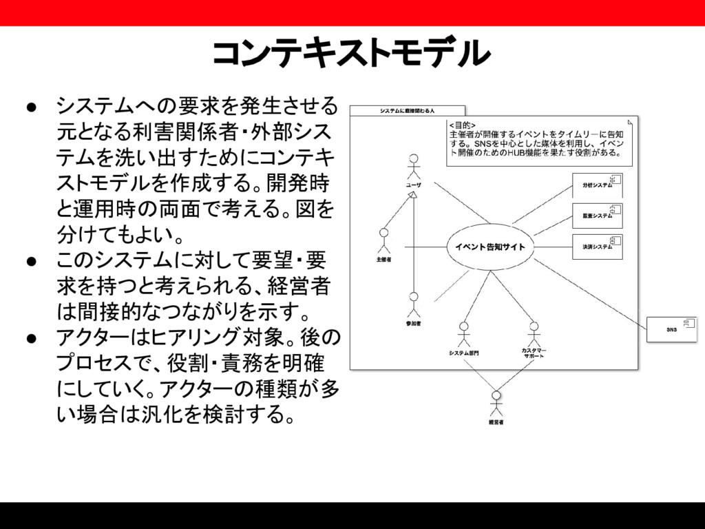 コンテキストモデル ● システムへの要求を発生させる 元となる利害関係者・外部シス テムを洗い...