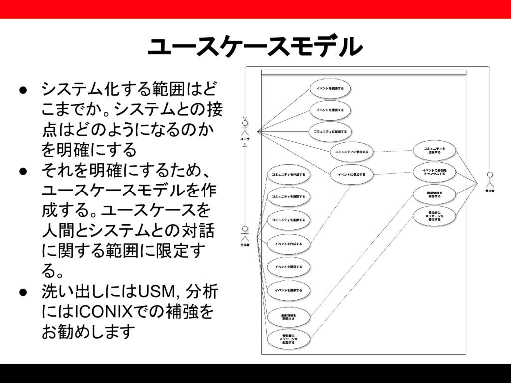 ユースケースモデル ● システム化する範囲はど こまでか。システムとの接 点はどのようになるの...