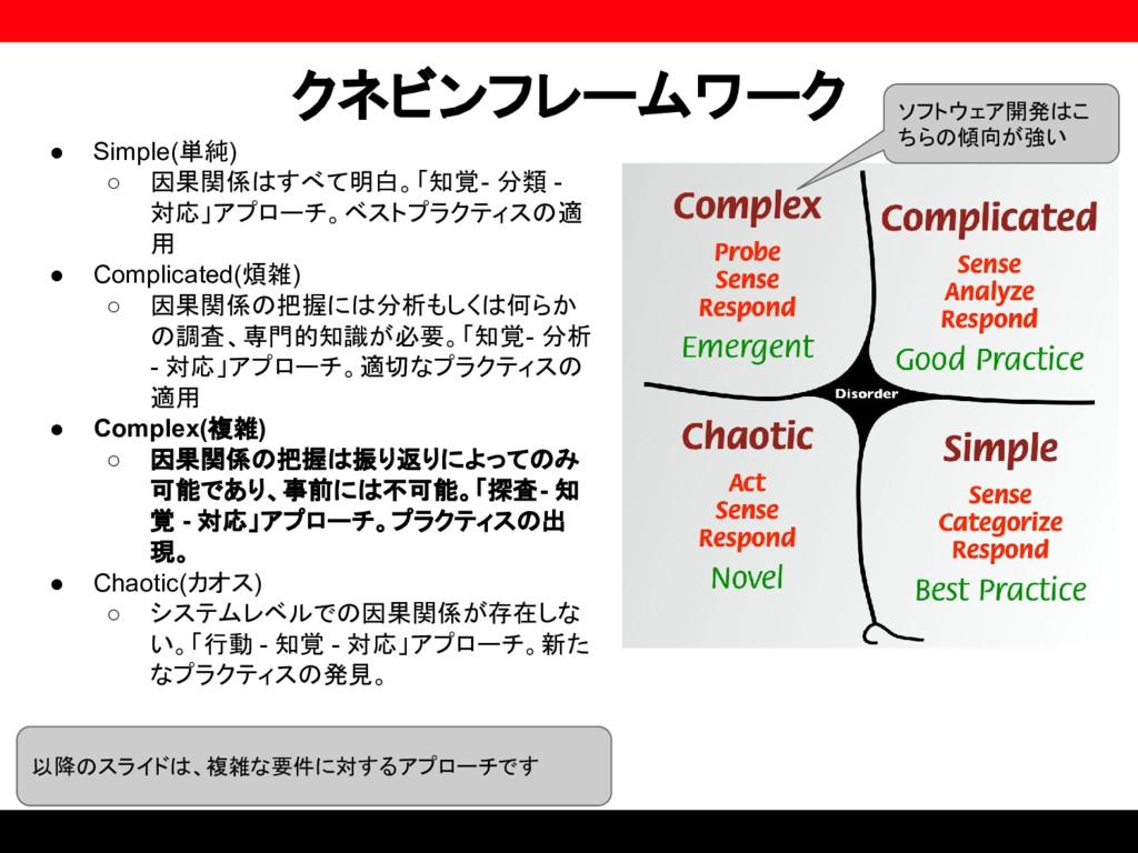 クネビンフレームワーク ● Simple(単純) ○ 因果関係はすべて明白。「知覚 - 分類 ...