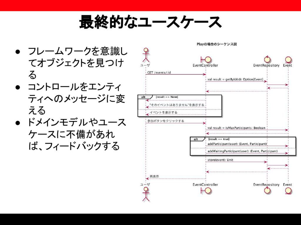 最終的なユースケース ● フレームワークを意識し てオブジェクトを見つけ る ● コントロール...