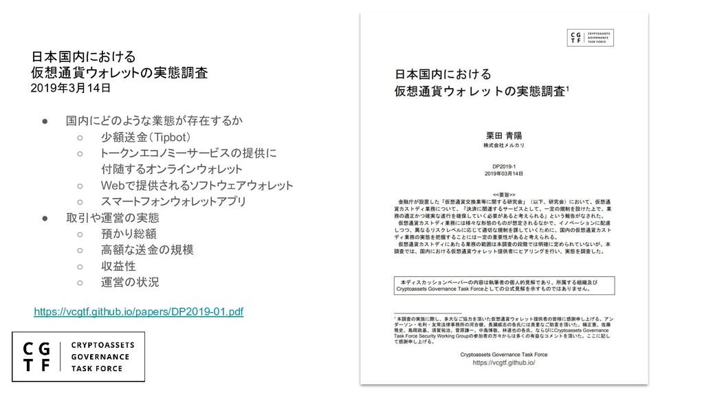 日本国内における 仮想通貨ウォレットの実態調査 2019年3月14日 ● 国内にどのような業態...