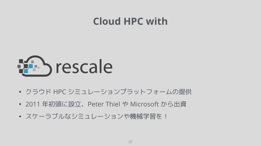 Cloud HPC with 22 • クラウド HPC シミュレーションプラットフォームの提...
