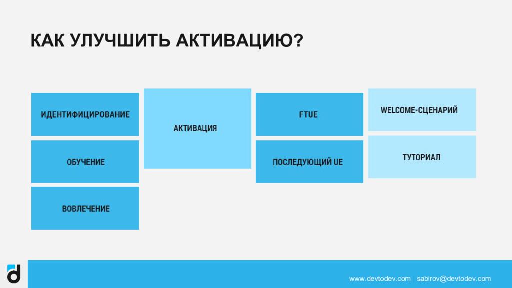 КАК УЛУЧШИТЬ АКТИВАЦИЮ? www.devtodev.com | sabi...