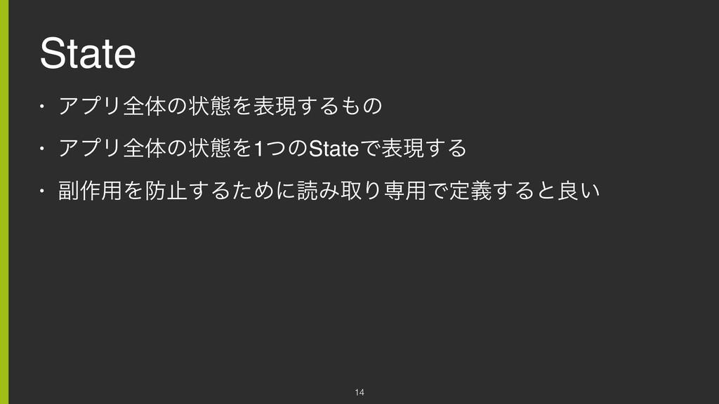 State • ΞϓϦશମͷঢ়ଶΛදݱ͢Δͷ • ΞϓϦશମͷঢ়ଶΛ1ͭͷStateͰදݱ͢...