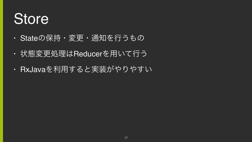 Store • Stateͷอɾมߋɾ௨Λߦ͏ͷ • ঢ়ଶมߋॲཧReducerΛ༻͍...