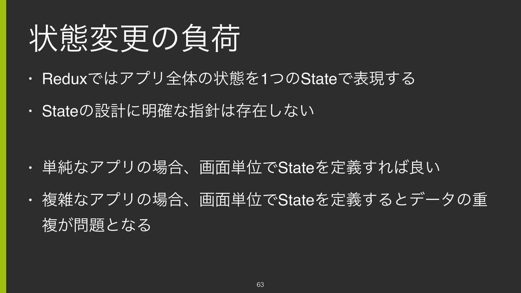 ঢ়ଶมߋͷෛՙ • ReduxͰΞϓϦશମͷঢ়ଶΛ1ͭͷStateͰදݱ͢Δ • State...