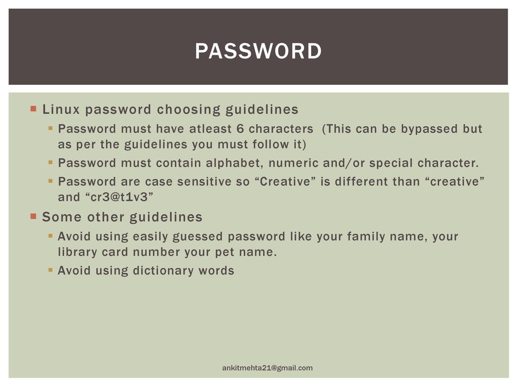  Linux password choosing guidelines  Password...