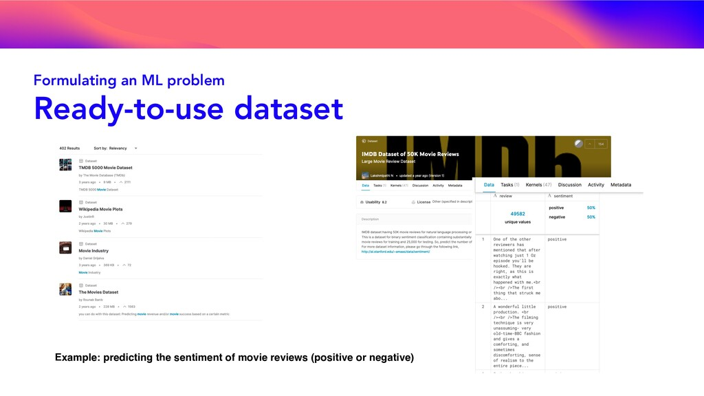 Formulating an ML problem Ready-to-use dataset ...