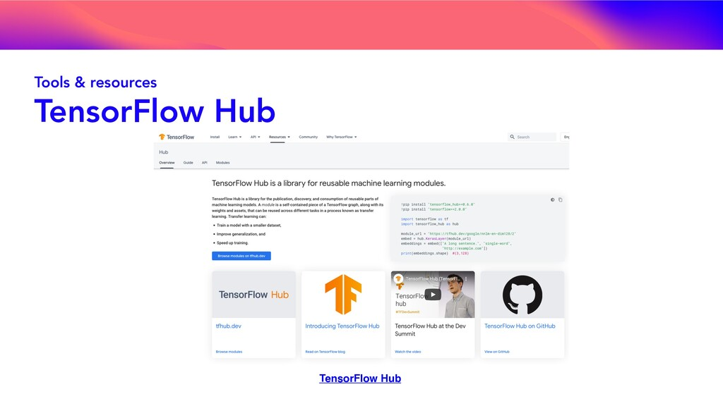 Tools & resources TensorFlow Hub TensorFlow Hub