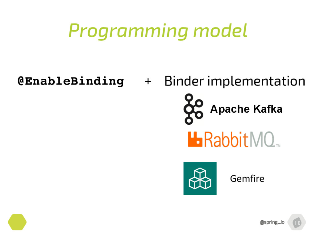 Programming model @EnableBinding + Binder imple...