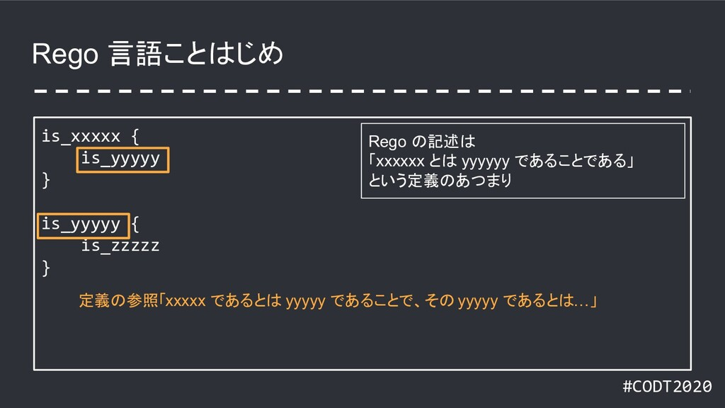 #CODT2020 Rego 言語ことはじめ is_xxxxx { is_yyyyy } is...