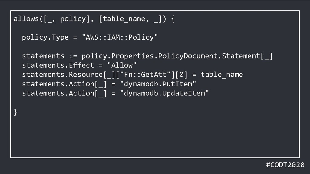 #CODT2020 allows([_, policy], [table_name, _]) ...
