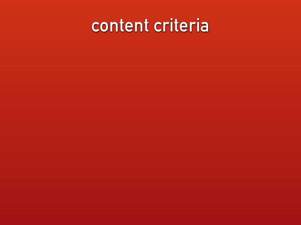 content criteria
