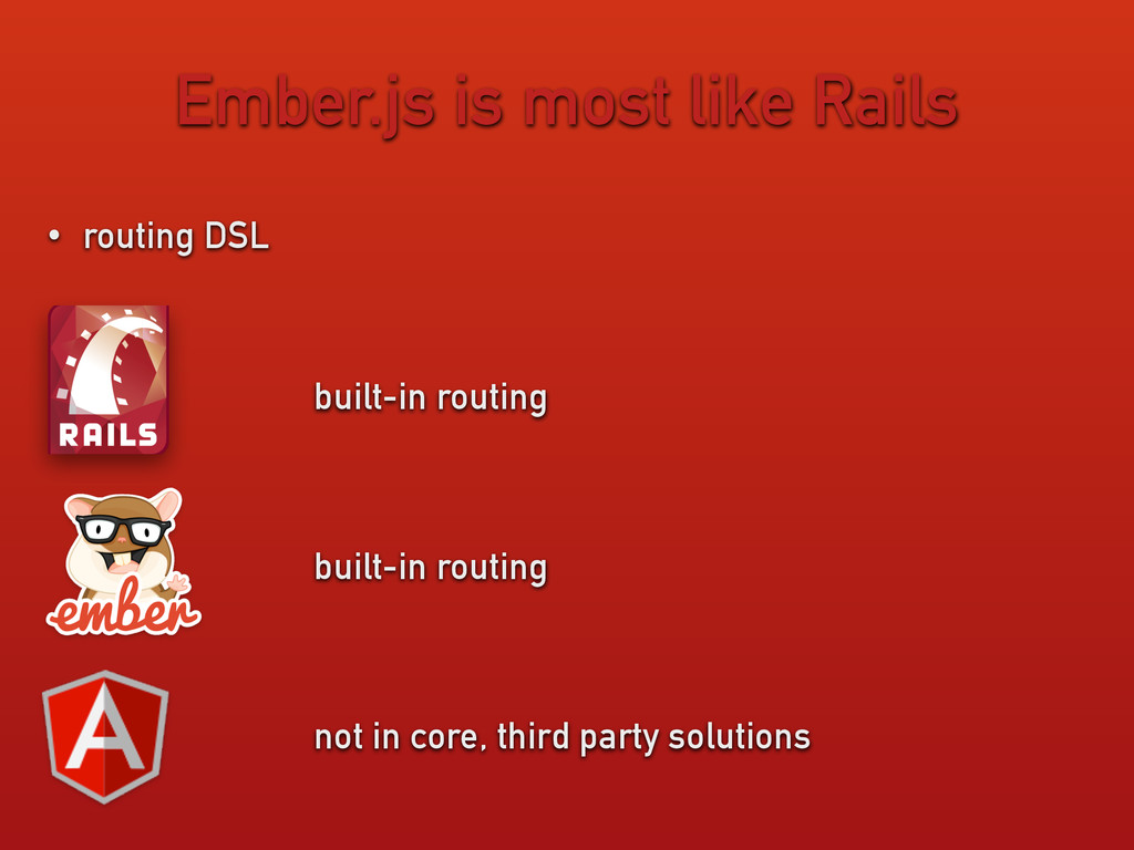Ember.js is most like Rails • routing DSL built...
