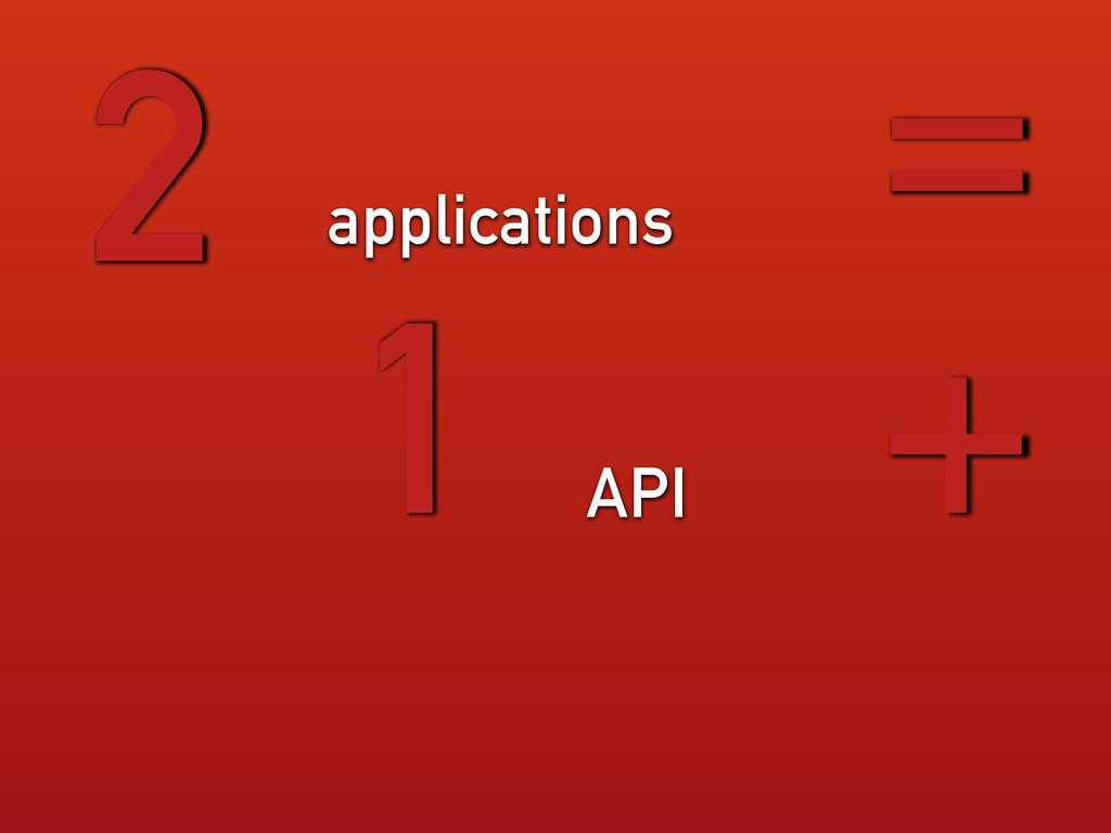 applications 2 = 1 API +