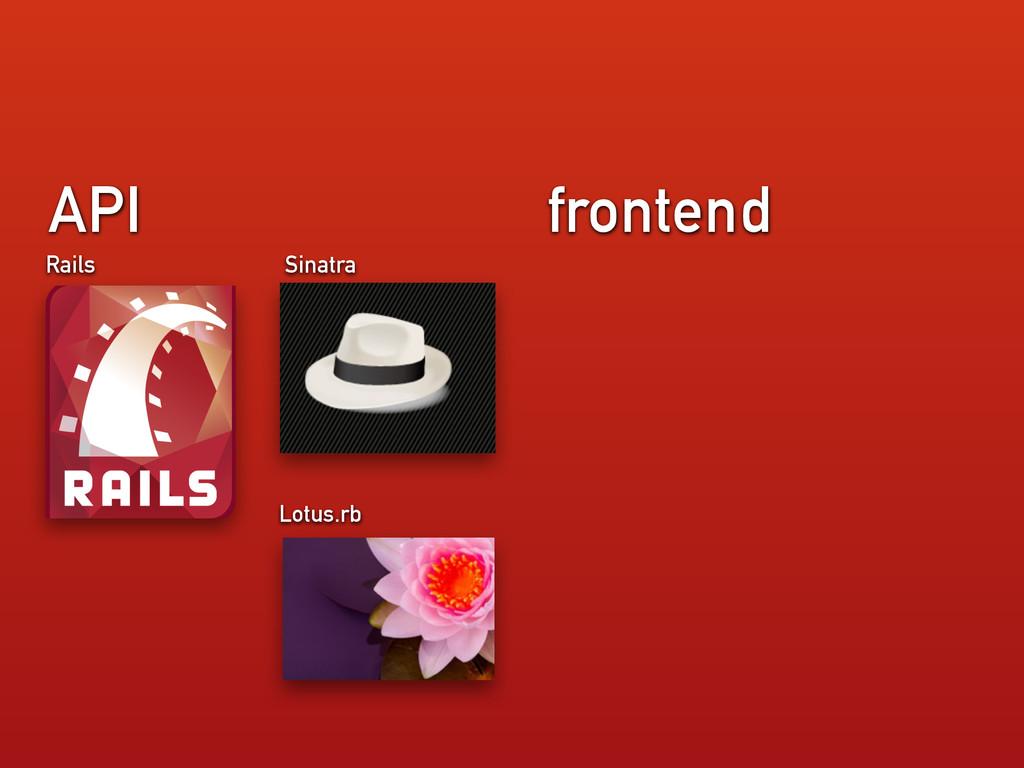 frontend API Rails Sinatra Lotus.rb