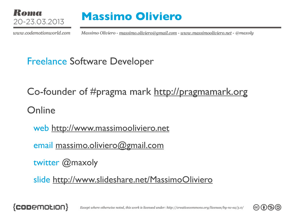 Massimo Oliviero - massimo.oliviero@gmail.com -...