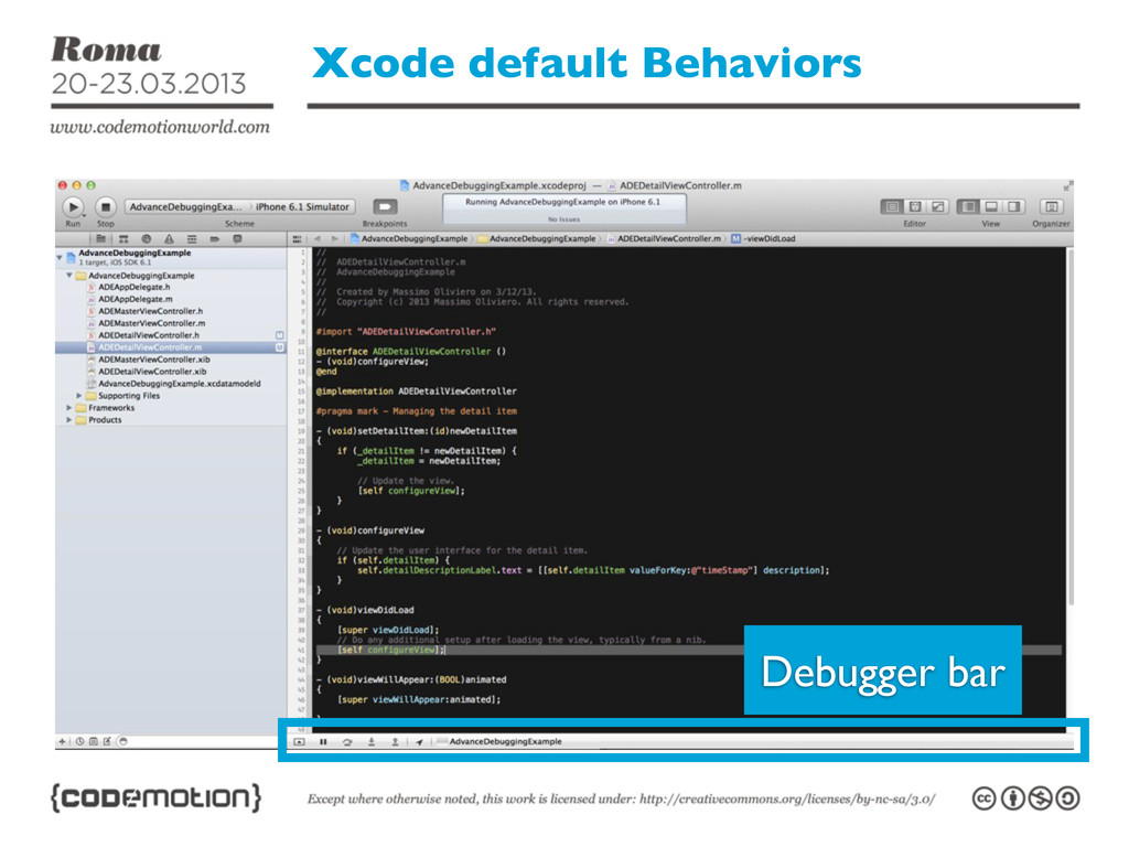 Xcode default Behaviors Debugger bar