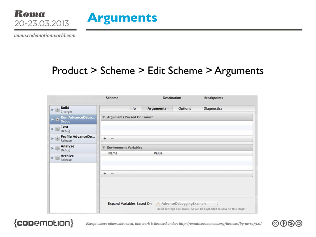 Arguments Product > Scheme > Edit Scheme > Argu...