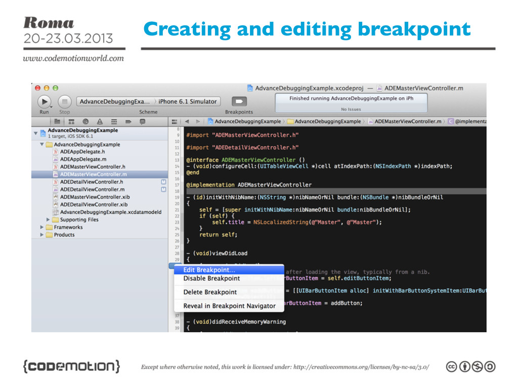 Creating and editing breakpoint
