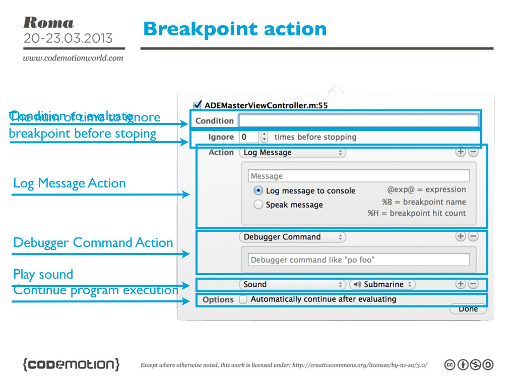 Breakpoint action Condition to evaluate The num...