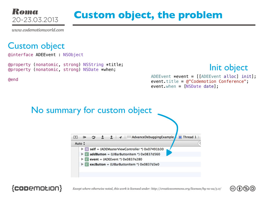 Custom object, the problem No summary for custo...