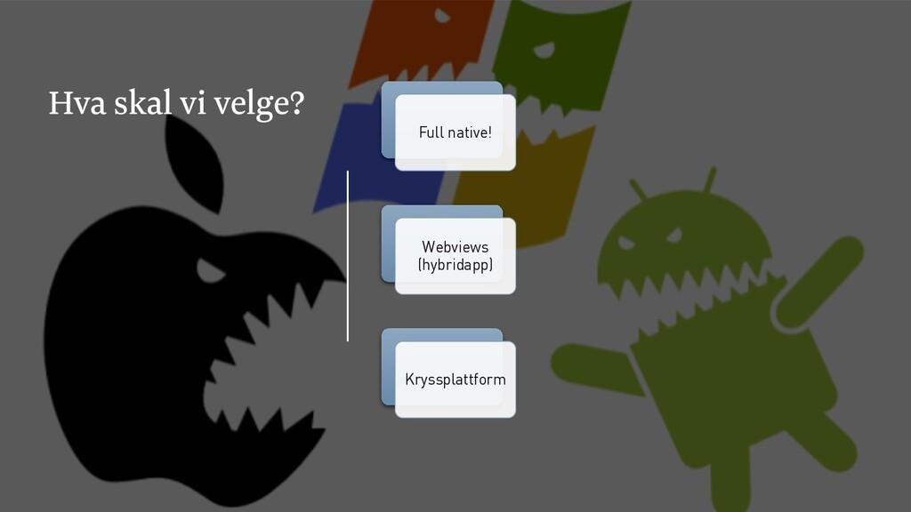 Hva skal vi velge? Full native! Webviews (hybri...