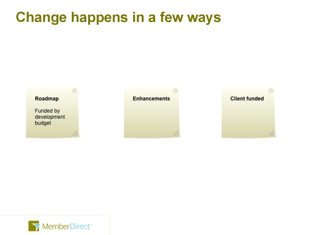 Change happens in a few ways