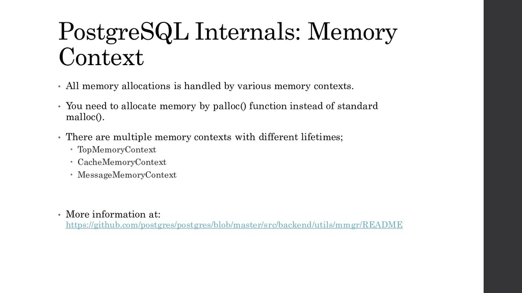 PostgreSQL Internals: Memory Context • All memo...
