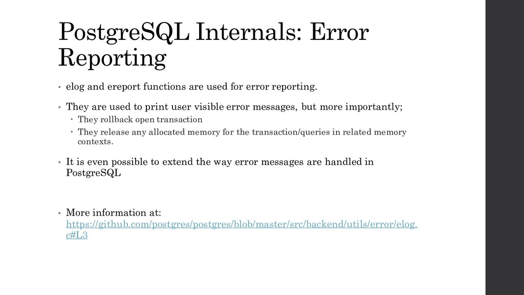 PostgreSQL Internals: Error Reporting • elog an...