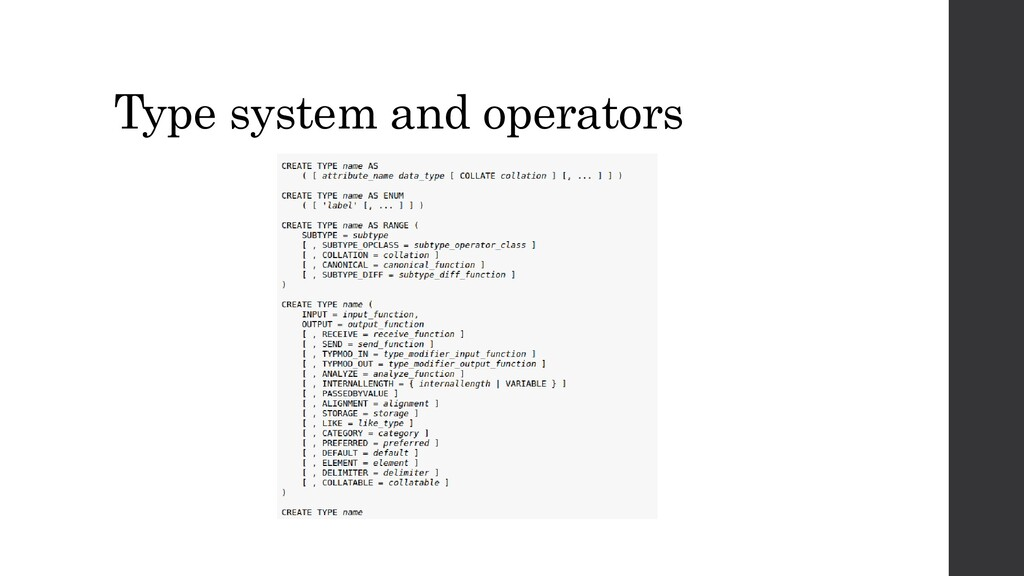 Type system and operators