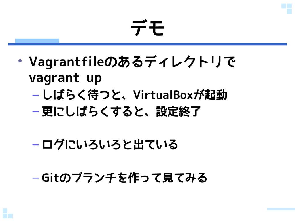 デモ • Vagrantfileのあるディレクトリで vagrant up – しばらく待つと...