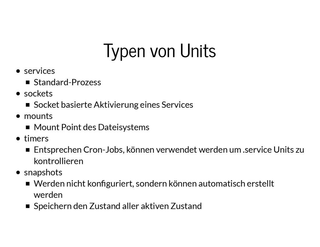 Typen von Units Typen von Units services Standa...