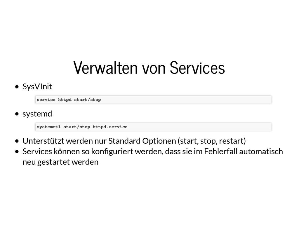 Verwalten von Services Verwalten von Services S...