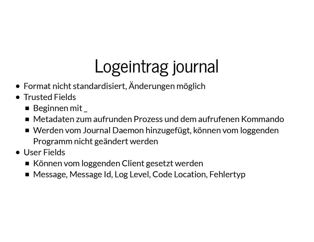 Logeintrag journal Logeintrag journal Format ni...