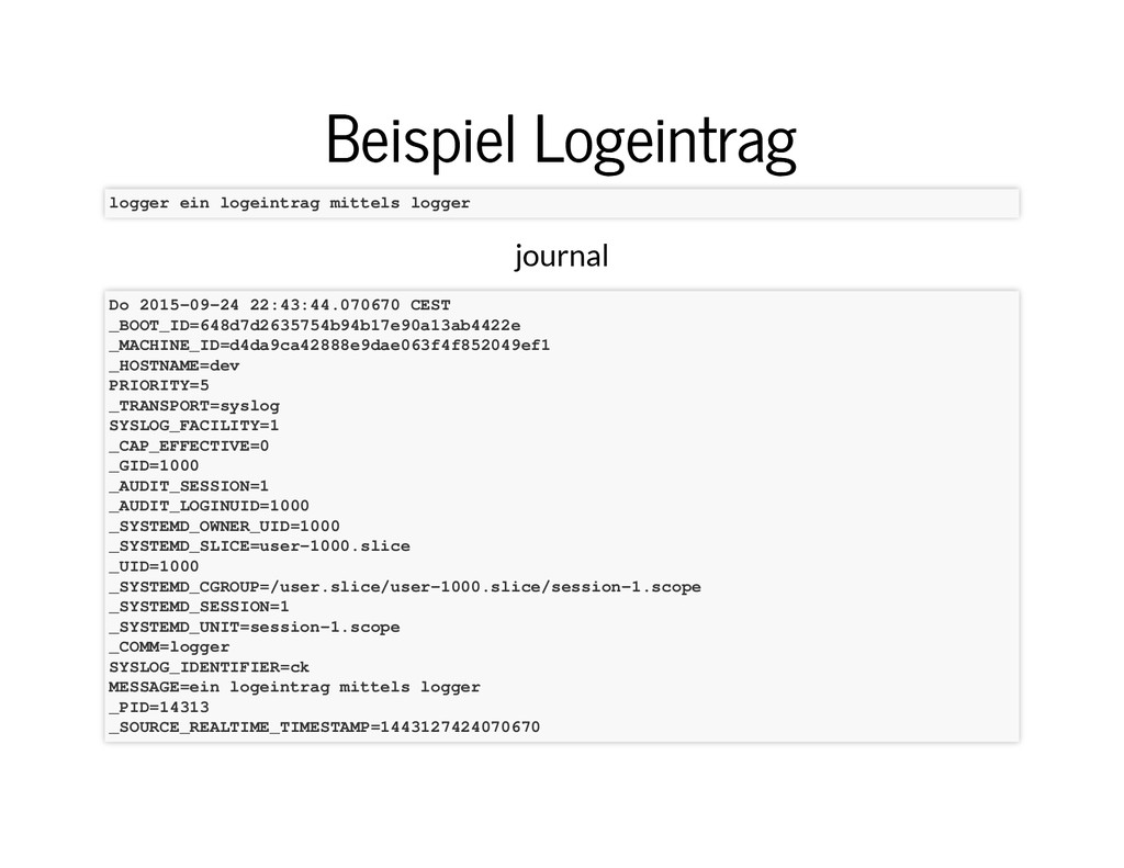 Beispiel Logeintrag Beispiel Logeintrag logger ...